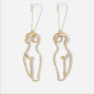 Urban Outfitters Jewelry - LAST SET Wire Sculpted Nude Lady Gold Earring